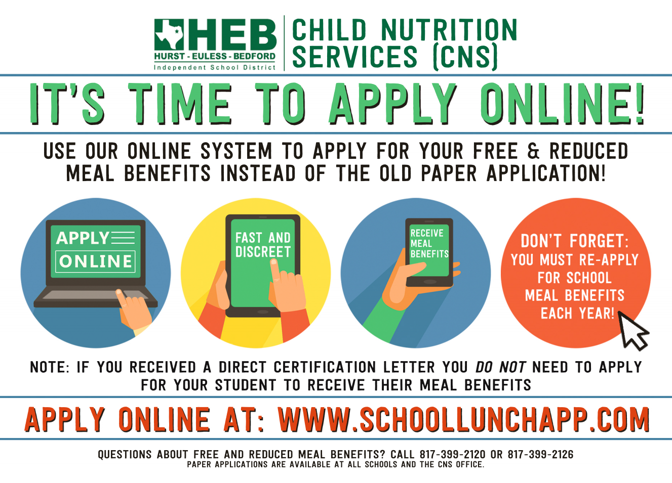 Free & Reduced Meal Info from HEB ISD (full transcript included on this page)