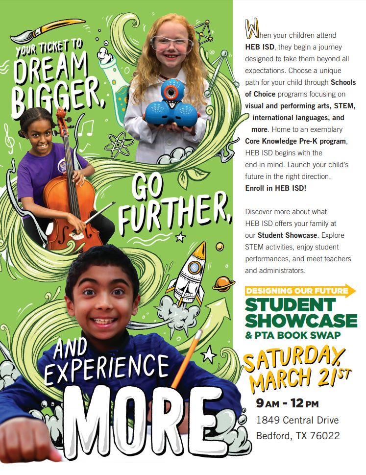 flyer for Student Showcase & PTA Book Swap - full transcript below