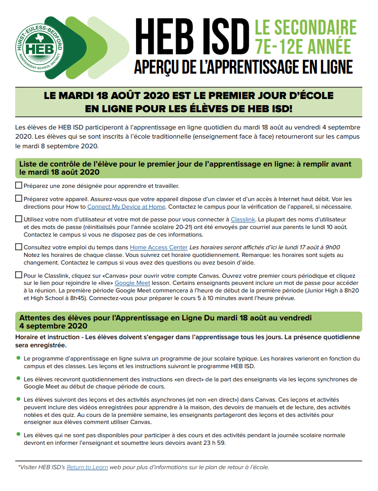 Online Learning Overview - Secondary - French Page 1 (transcript provided on page)