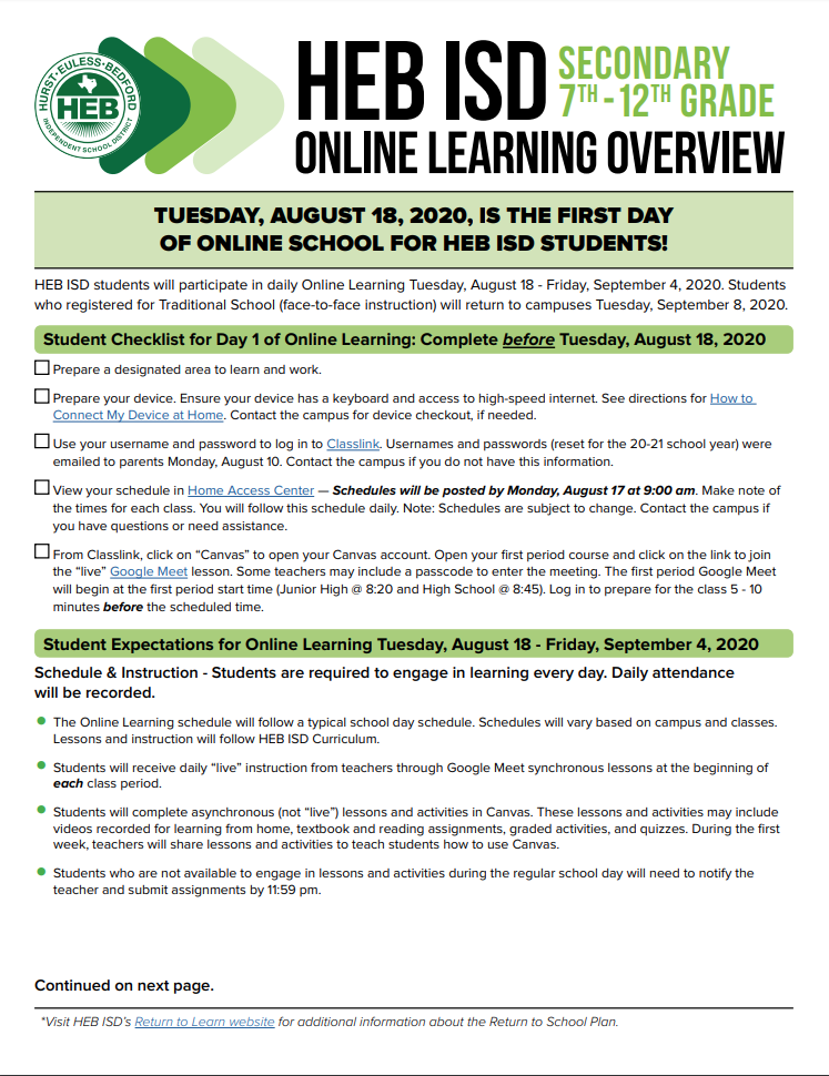 Online Learning Overview - Secondary Page 1 (transcript provided on page)