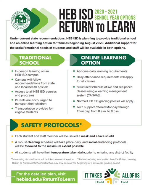 Return to Learn flyer in English
