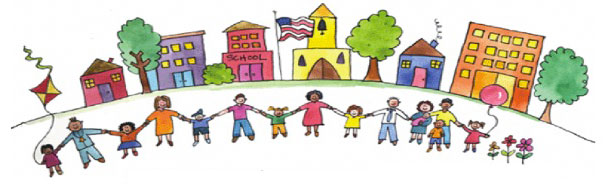 Child's art of families holding hands in front of schools and houses