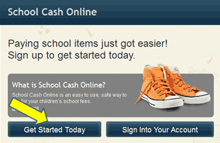 Screenshot from School Cash Online with arrow pointing to 'Get Started Today' button