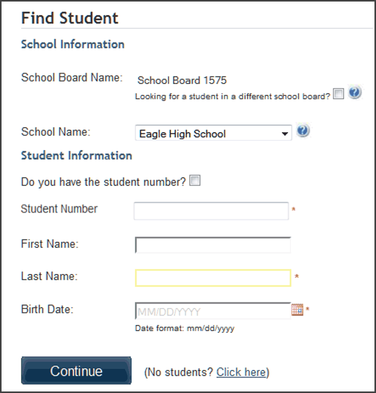 Screenshot of 'Find Student' form from School Cash Online
