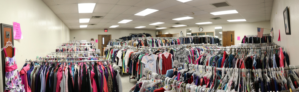 racks of clothing at the Clothes Closet