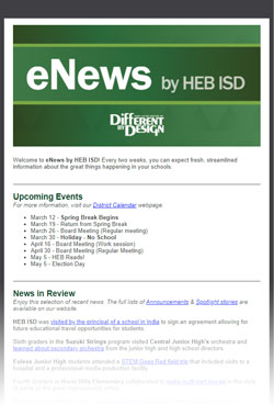 Screenshot of an eNews by HEB ISD email newsletter, with large green 'eNews' logo at the top