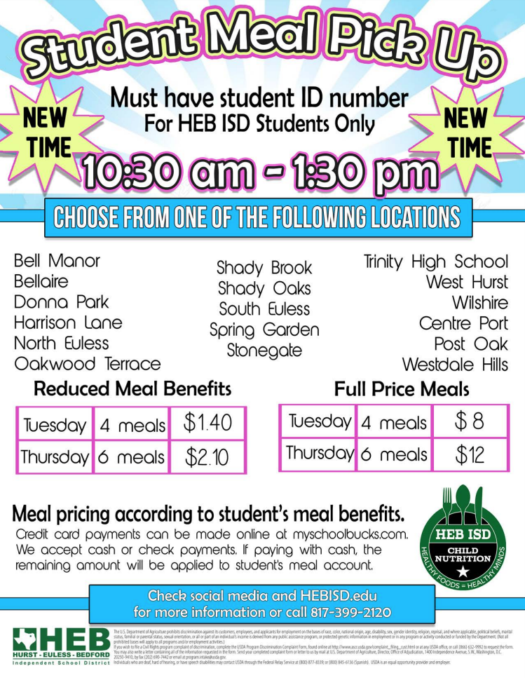 Student Meal Pick-Up Flyer (transcript provided on page)