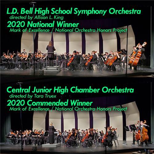 Collage with photos of the Bell and Central school orchestras