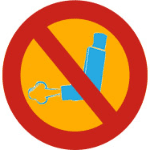 "inhaler with symbol for ""no"""