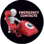 Emergency Contacts, with person dialing large phone