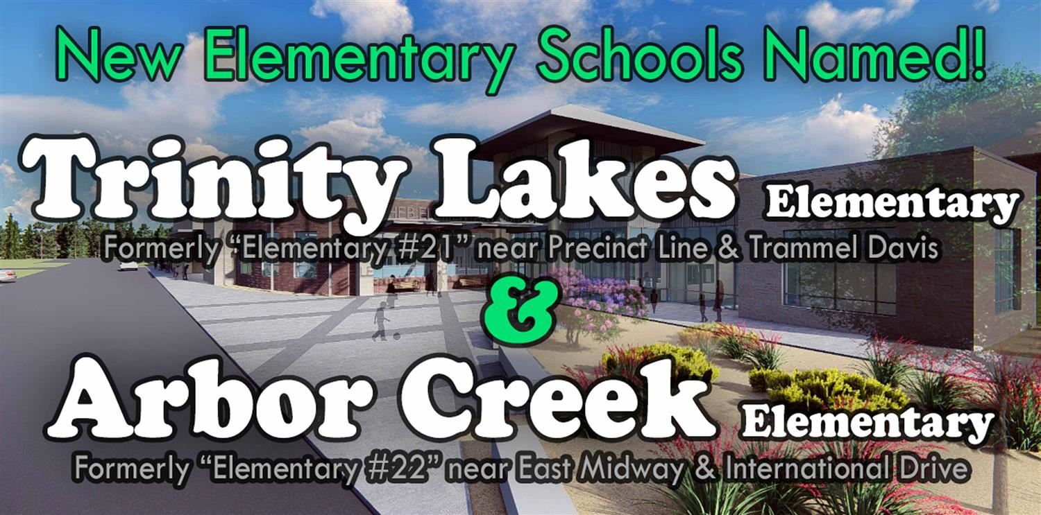 Names & details of new elementary schools over background showing rendering of a new school