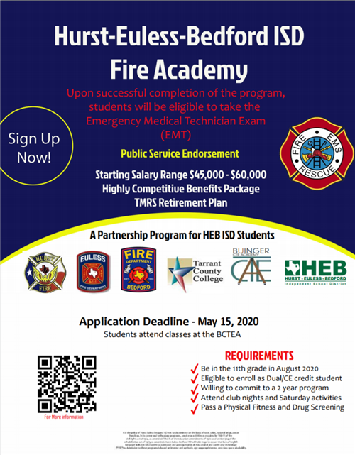 information flyer for HEB ISD Fire Academy - transcript included below