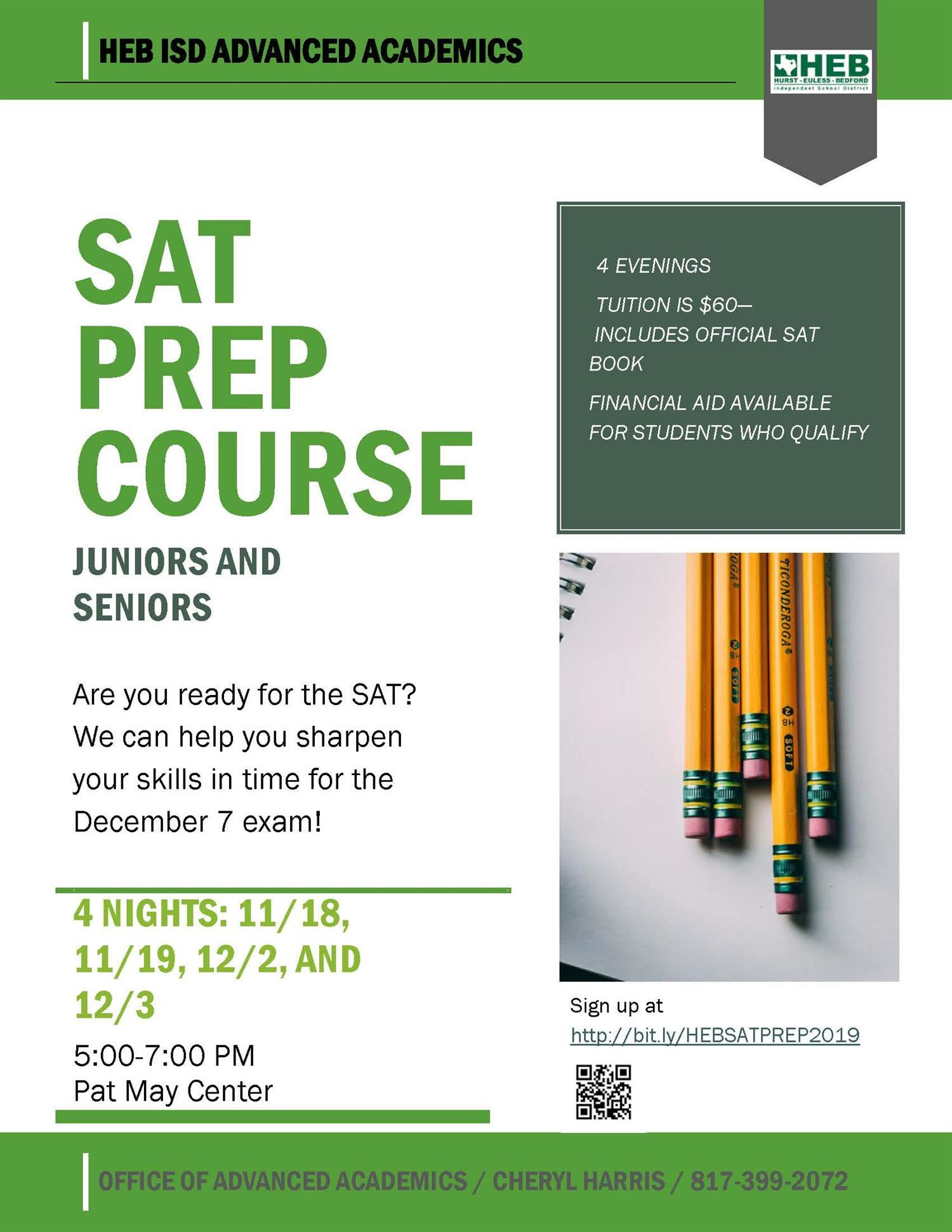 flyer for SAT Prep Course -- complete information available on this page