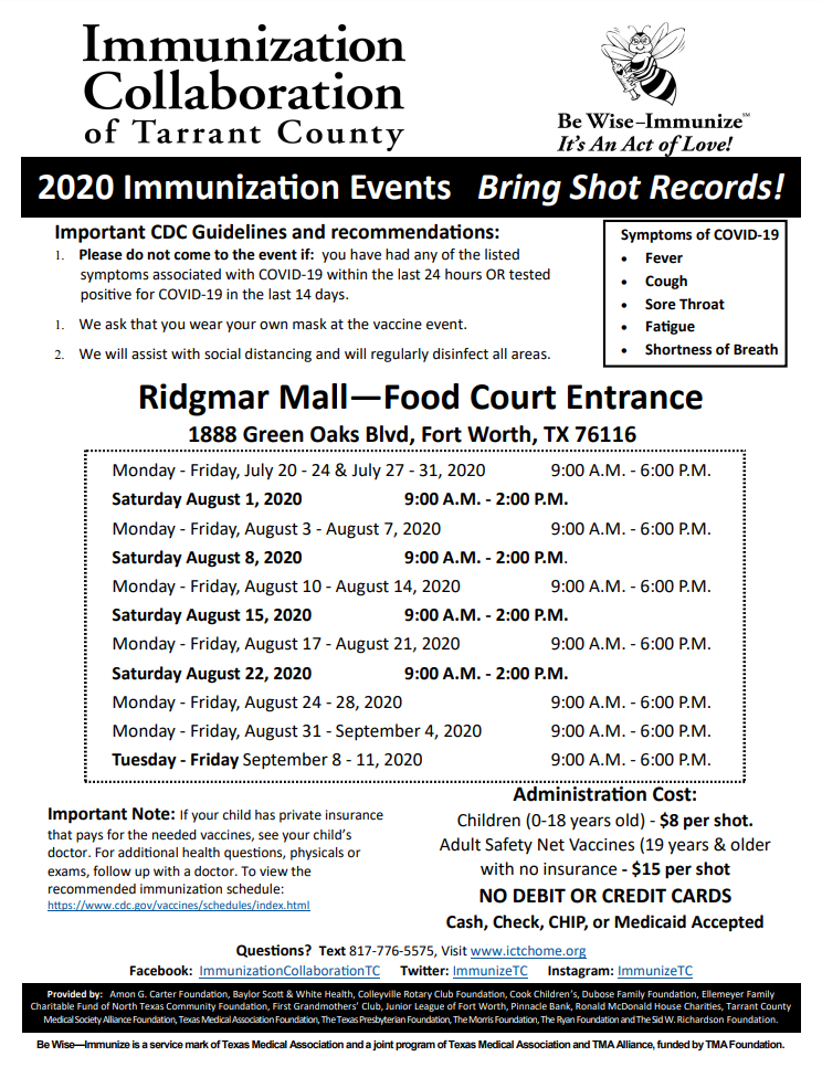 in English, Immunization events from Immunization Collaboration of Tarrant County (details available on their website)