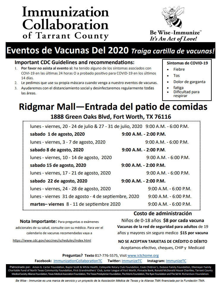 In Spanish, Immunization events from Immunization Collaboration of Tarrant County (details available on their website)