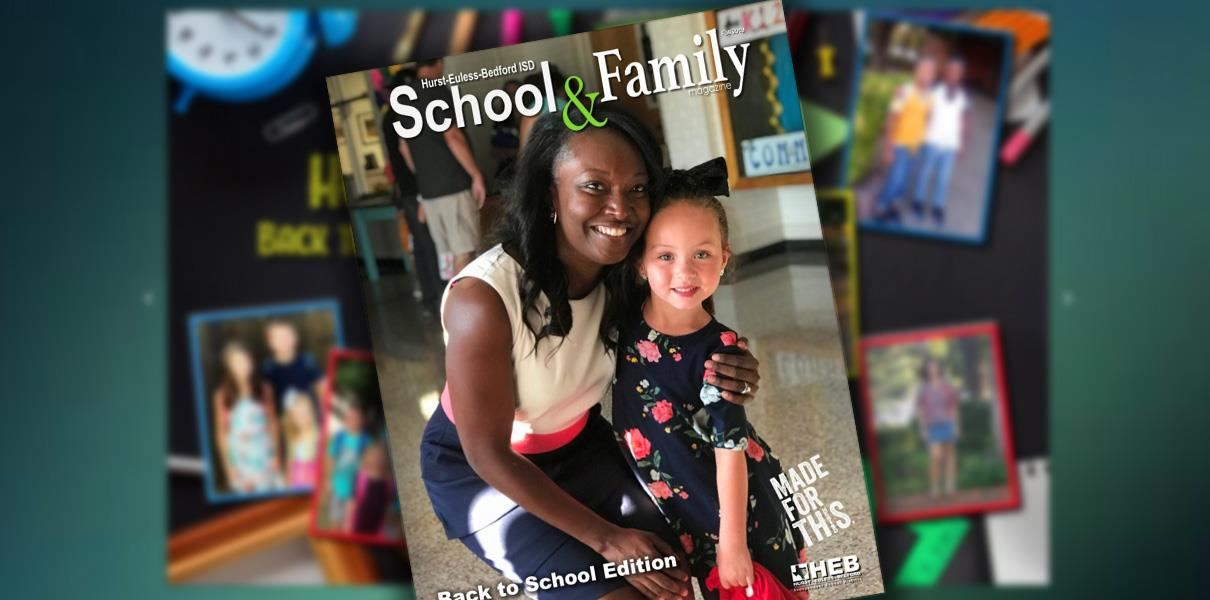 collage featuring principal and elementary student on cover of magazine