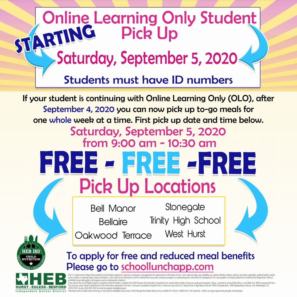 Flyer for meals for online learning only students on Saturday, September 5 (transcript in text accompanying photo)