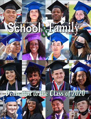 Cover of School & Family magazine, with photo collage of students wearing caps and gowns