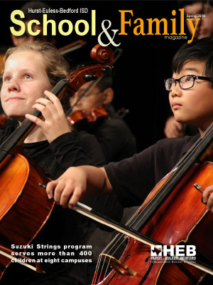 Cover of School & Family magazine, with students playing cellos
