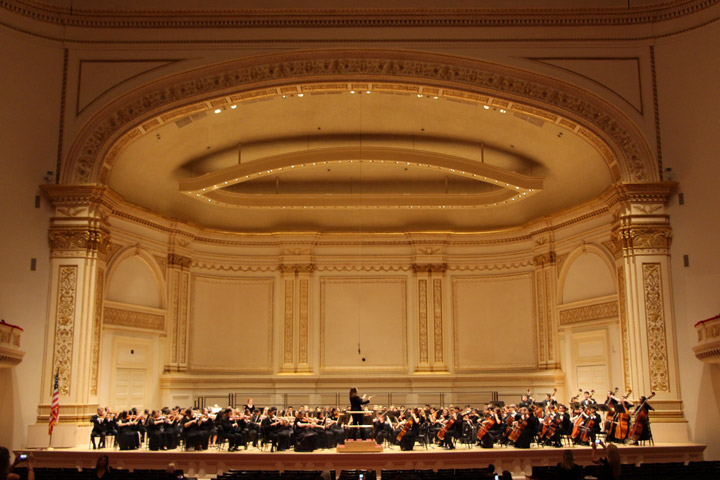 Bell Orchestra performing at Carnegie Hall