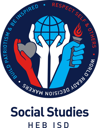 Logo for HEB ISD Social Studies - Build Patriotism & Be Inspired, Respect Self & Others, World Ready Decision Makers