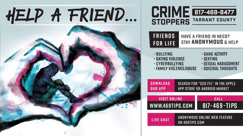 Help a friend... Crime Stoppers graphic (full transcript below)